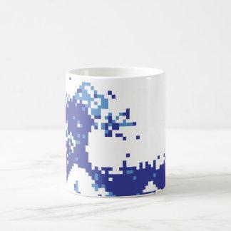 Pixel Tsunami Blue 8 Bit Pixel Art Mug