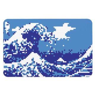 Pixel Tsunami Blue 8 Bit Pixel Art Magnets