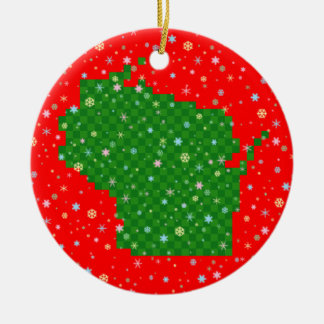 Pixel Wisconsin and Pastel Snowflakes Christmas Tree Ornament