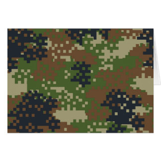 Pixel Woodland Camouflage Card