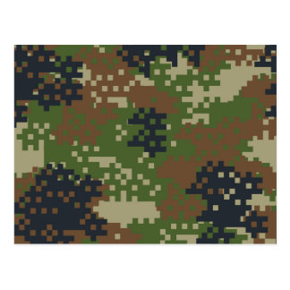 Pixel Woodland Camouflage Postcard
