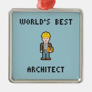 Pixel World's Best Architect Christmas Ornament