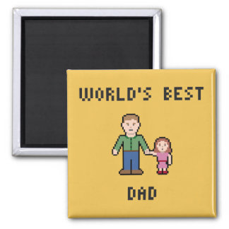 Pixel World's Best Dad Magnet