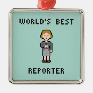 Pixel World's Best Female Reporter Silver-Colored Square Decoration