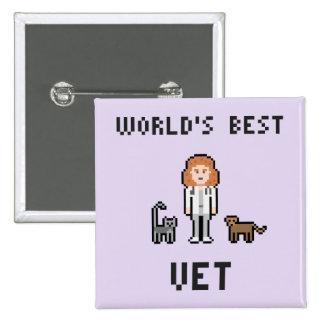 Pixel World's Best Female Vet Button
