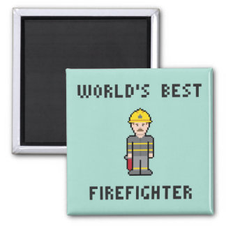 Pixel World's Best Firefighter Magnet