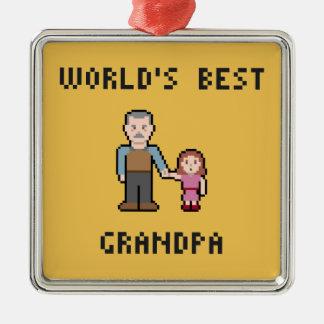 Pixel World's Best Grandpa Ornament