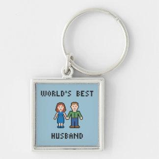 Pixel World's Best Husband Keychain
