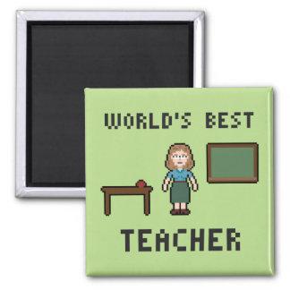 Pixel World's Best Teacher Magnet