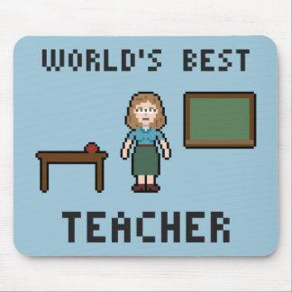 Pixel World's Best Teacher Mousepad