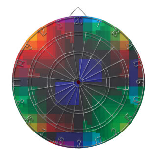 Pixelated Abstract of Coachella Love Dartboard With Darts