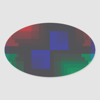 Pixelated Abstract of Coachella Love Oval Sticker