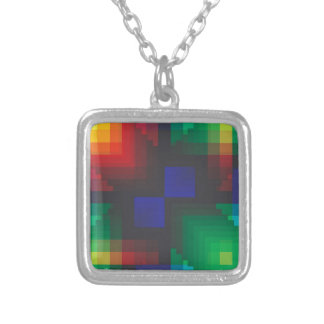 Pixelated Abstract of Coachella Love Square Pendant Necklace