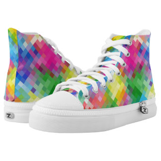 Pixelated Abstract Square Mosaic Pattern High Tops