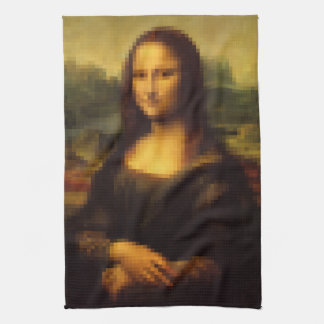 Pixelated Mona Lisa Kitchen Towel