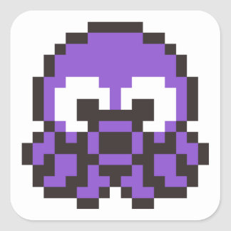 Pixelated Purple Octopus Square Stickers
