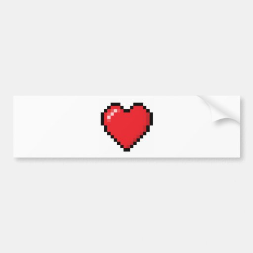 Pixelated red video game heart bumper sticker