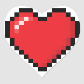 Pixelated red video game heart heart sticker