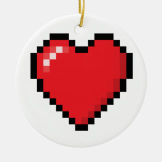 Pixelated red video game heart round ceramic decoration