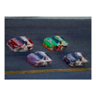 Pixelated Stock Cars Poster
