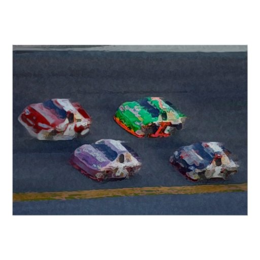 Pixelated Stock Cars Posters