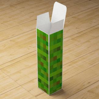 Pixels green wine gift box