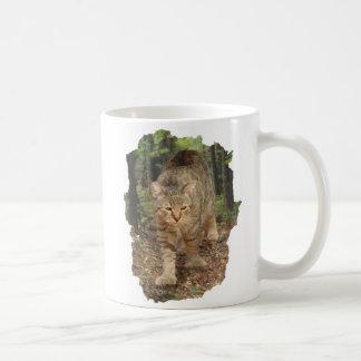 Pixie Bob cat walking in woods Coffee Mug