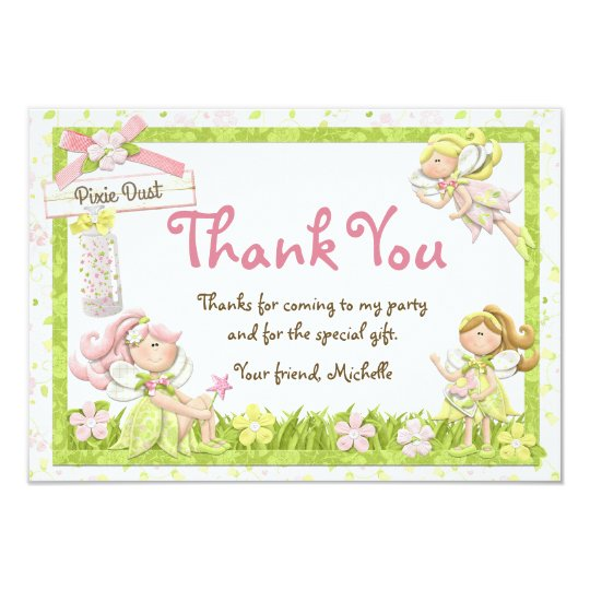 Pixie fairy birthday party thank you card zazzle pixie fairy birthday party thank you card bookmarktalkfo Image collections