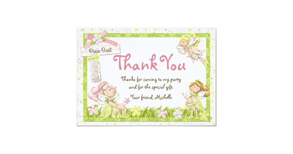 Pixie Fairy Birthday Party Thank You Card | Zazzle.co.uk