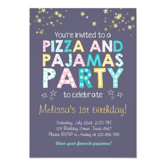 Pizza and Pajamas birthday invitation Sleepover