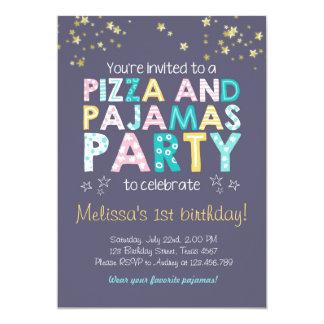 Pizza and Pajamas birthday invitation Sleepover
