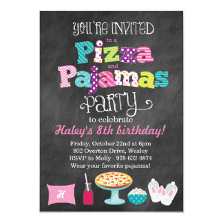 Pizza and Pajamas Party Chalkboard Invitation