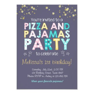 Pizza and Pyjamas birthday invitation Sleepover
