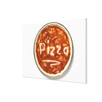 Pizza base with tomato sauce and the word canvas print