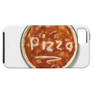 Pizza base with tomato sauce and the word case for the iPhone 5