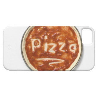 Pizza base with tomato sauce and the word iPhone 5 cover