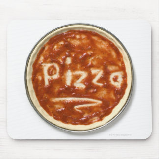 Pizza base with tomato sauce and the word mouse mat