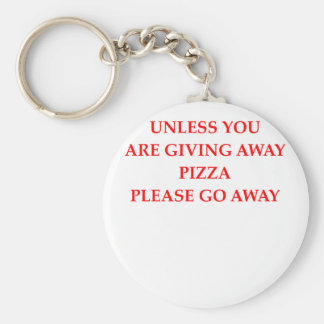 pizza basic round button key ring