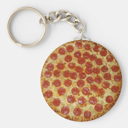 Pizza Basic Round Button Key Ring