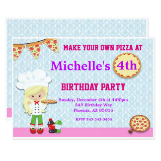 Pizza Birthday Party Invitation, Pizza Invite