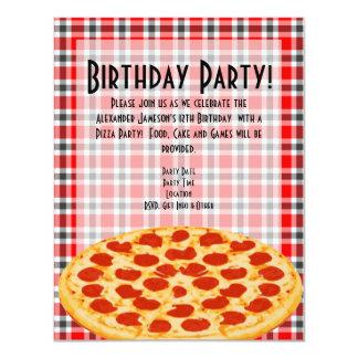 Pizza Birthday Party Invitation, Tablecloth Design 11 Cm X 14 Cm Invitation Card