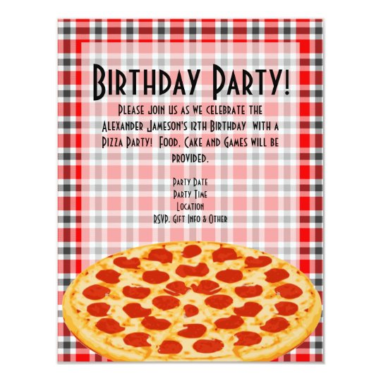 Pizza Birthday Party Invitation, Tablecloth Design Card
