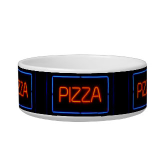 PIZZA Blue & Red Neon Sign Bowl