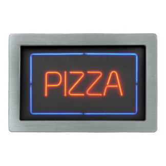 PIZZA Blue & Red Neon Sign Rectangular Belt Buckles