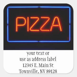 PIZZA Blue & Red Neon Sign Square Sticker