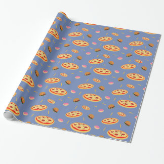 Pizza burger and fries theme wrapping paper