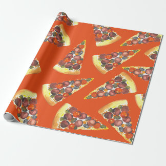 Pizza-by-the-Slice Watercolor Gift Wrap Wrapping Paper