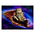 pizza cat - crazy cat - cats in space poster