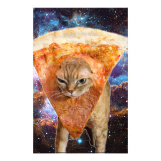 Pizza Cat in Space Wearing Pizza Slice Stationery