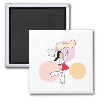 Pizza Chef Art Square Magnet
